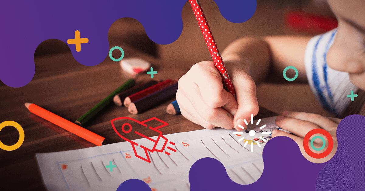 Niña dibujando en un banco, rodeada de íconos que refieren a creatividad.