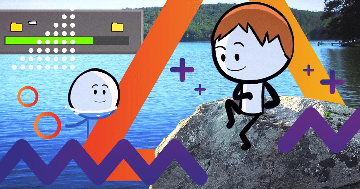 Dibujo de dos chicos en el río, haciendo tiempo a que termine una descarga de internet.