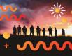 Vista panorámica de un grupo de personas lado a lado en el horizonte