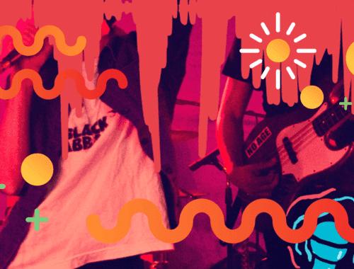 Banda de rock tocando en una sala de ensayo